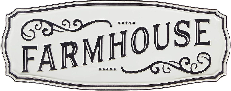 "Amazon Brand – Stone & Beam Vintage Farmhouse Decorative Sign, 28""W x 11""H, White and Black"