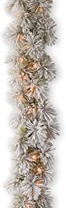 National Tree Company Pre-lit Artificial Christmas Garland   Includes Pre-strung Lights   Snowy Bristle Pine - 9 ft