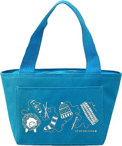 K1C2 Blue Knit Happy Petite Project Bag 13X8X5