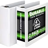 Samsill Durable 3 Ring View Binders, 4 Inch Locking D-Ring - Holds 800 Sheets, PVC-Free/Non-Stick Customizable Cover…