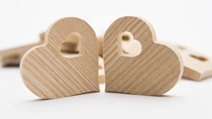 Wedding decor Butterfly Pattern Natural Wood Blank Wooden Heart Love Tags