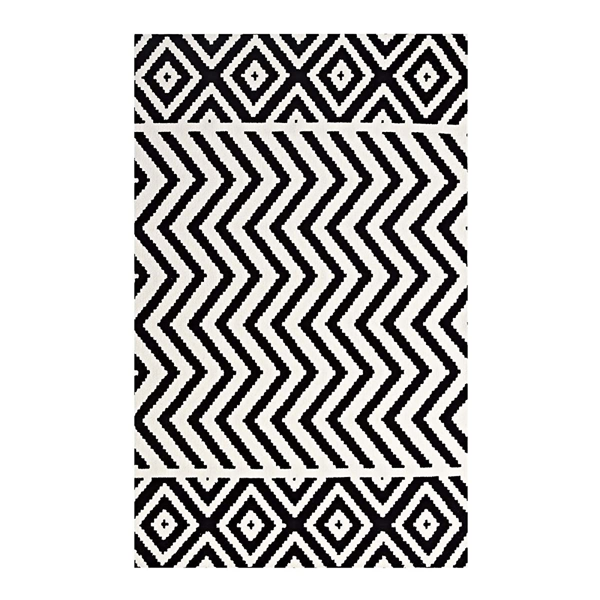 Modway R-1011A-58 Ailani Geometric Chevron/Diamond Area Rug, 5X8, Black and White