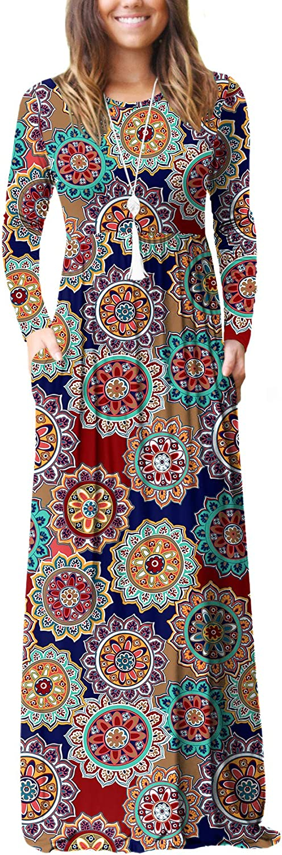VIISHOW Women's Long Sleeve Loose Plain Empire Waist Maxi Dresses Casual Long Dresses with Pockets