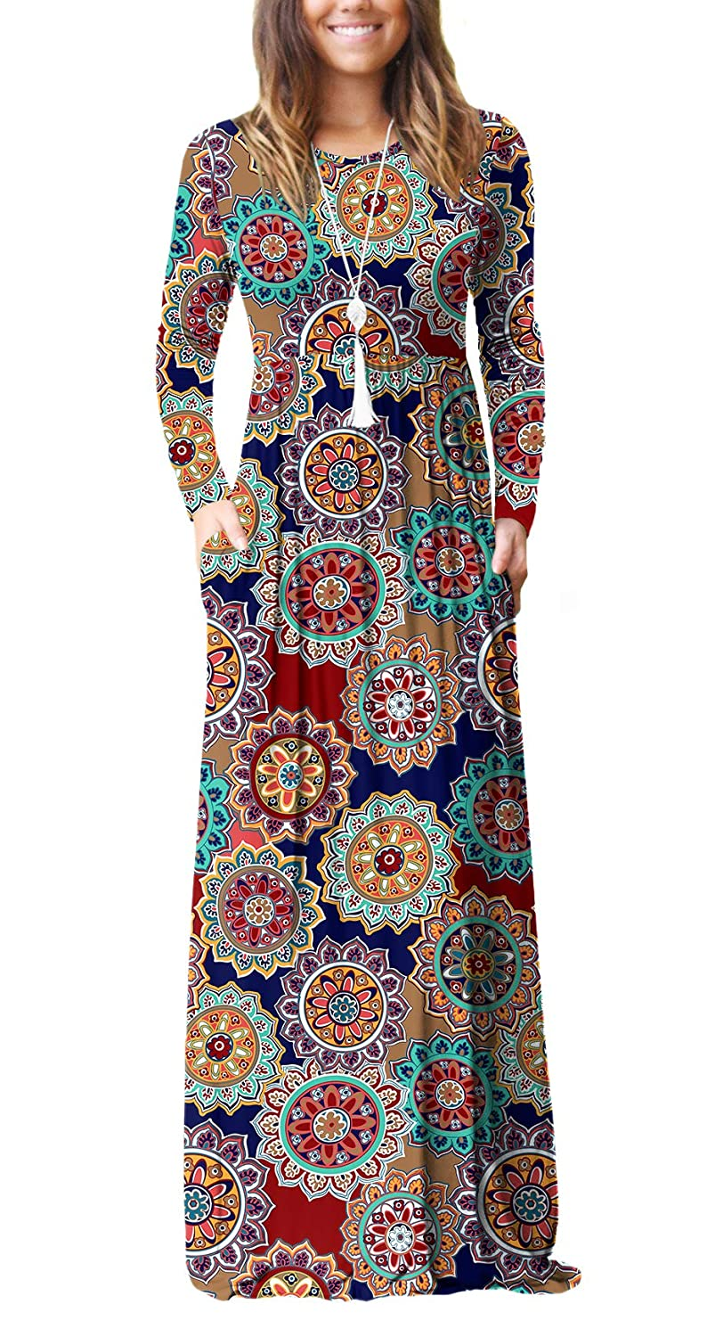 70s Dresses – Disco Dress, Hippie Dress, Wrap Dress Viishow Womens Long Sleeve Loose Plain Maxi Dresses Casual Long Dresses with Pockets $23.99 AT vintagedancer.com