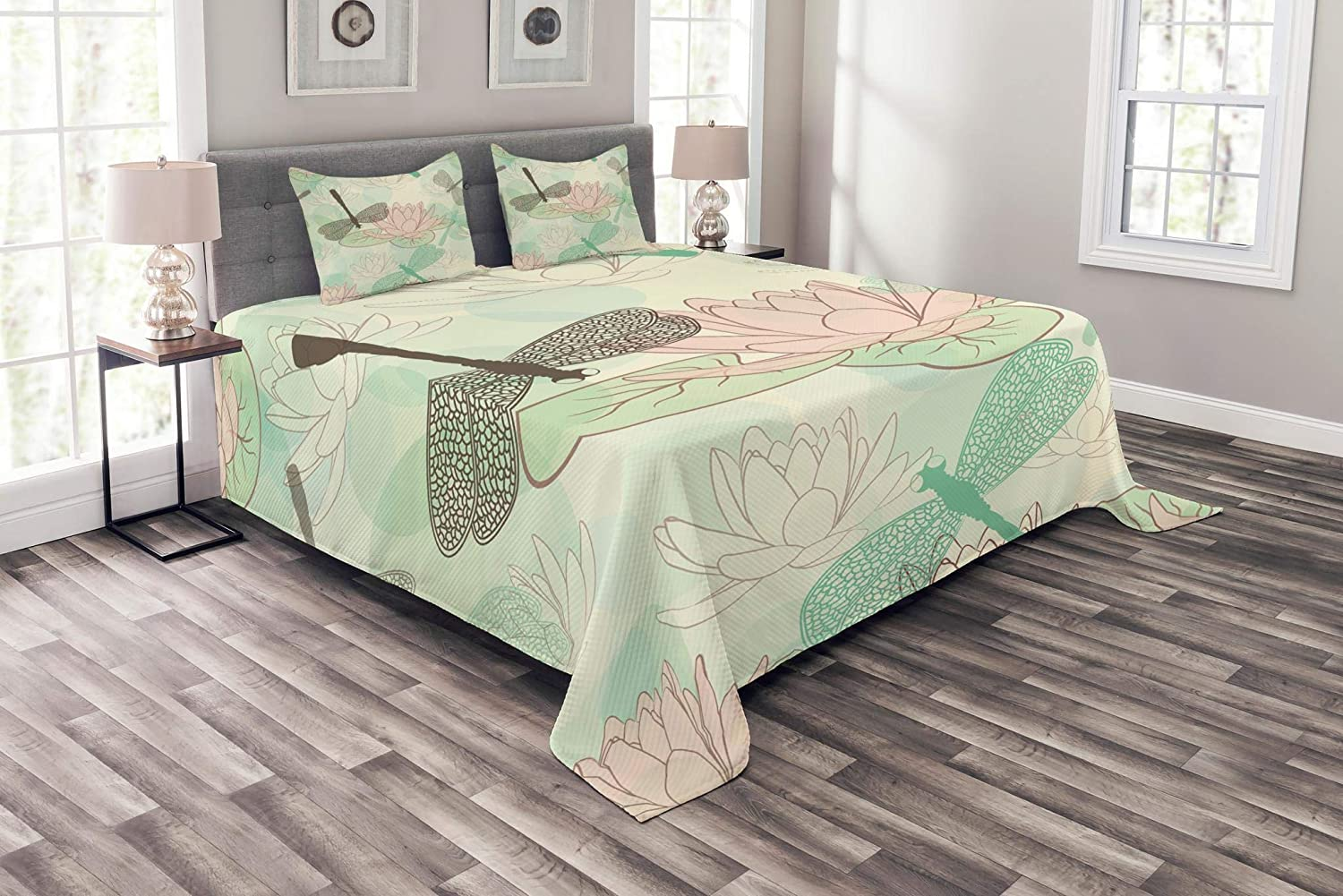 Lunarable Dragonfly Bedspread, Floating Water Lily and Dragonfly on The Lake in Soft Color Design Print, Decorative Quilted 3 Piece Coverlet Set with 2 Pillow Shams, Queen Size, Green Pink