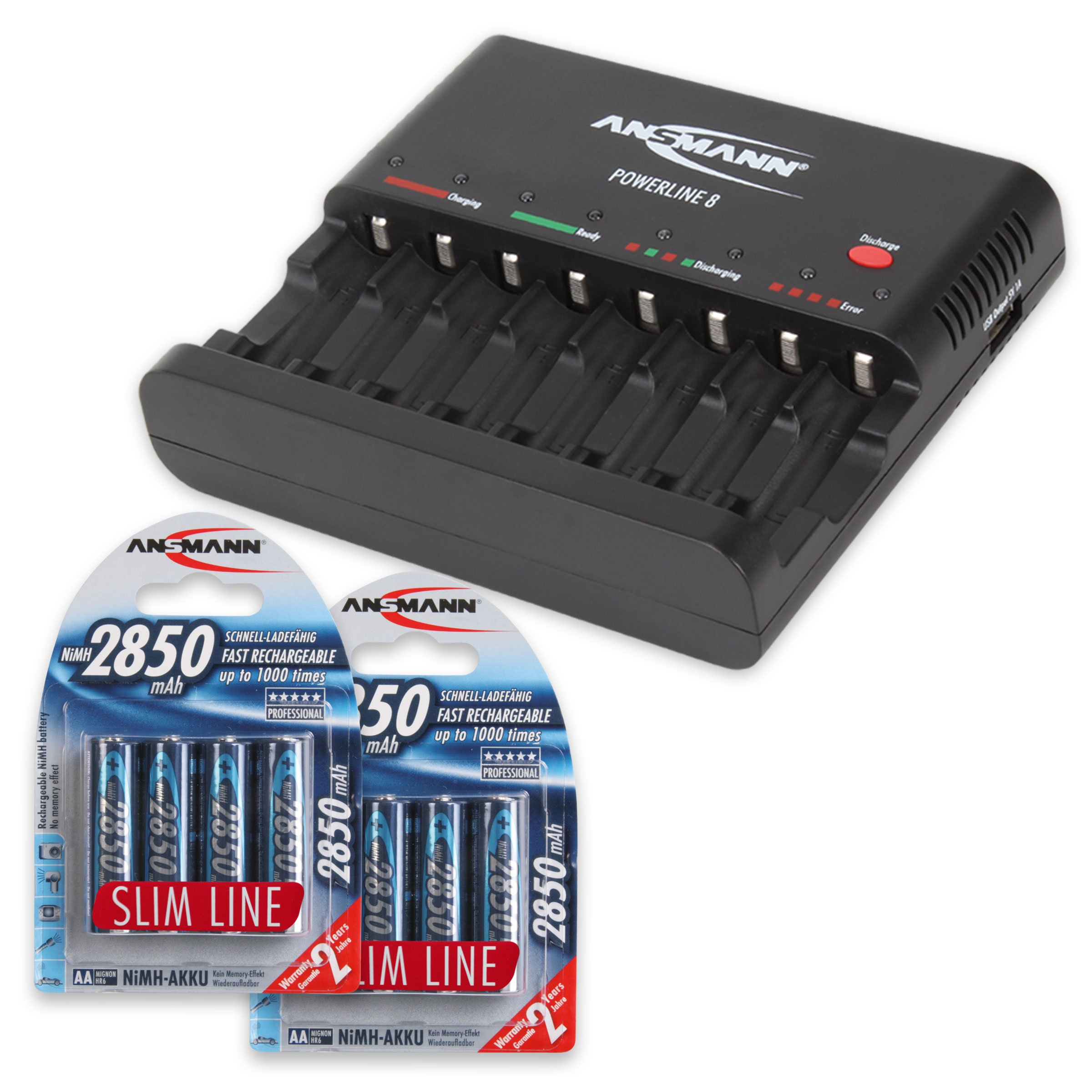 Ansmann 1001-0006-US-590-2 ANSMANN Powerline 8 AAA & AA Smart Battery Charger AA, AAA Rechargeable Batteries w. Discharge Function USB-Port + Eight 2850mAh Slimline AA Batteries