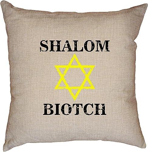 Hollywood Thread Shalom Biotch – Star of David – Bitch – Jewish Pride Decorative Linen Throw Cushion Pillow Case with Insert