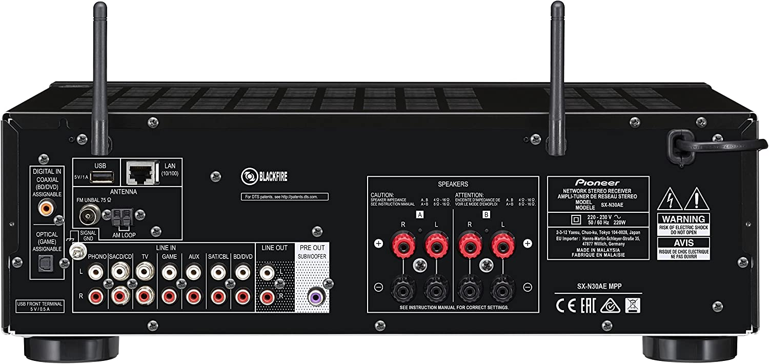 Pioneer SX-N30AE-S Network Stereo Receiver with Bluetooth Silver