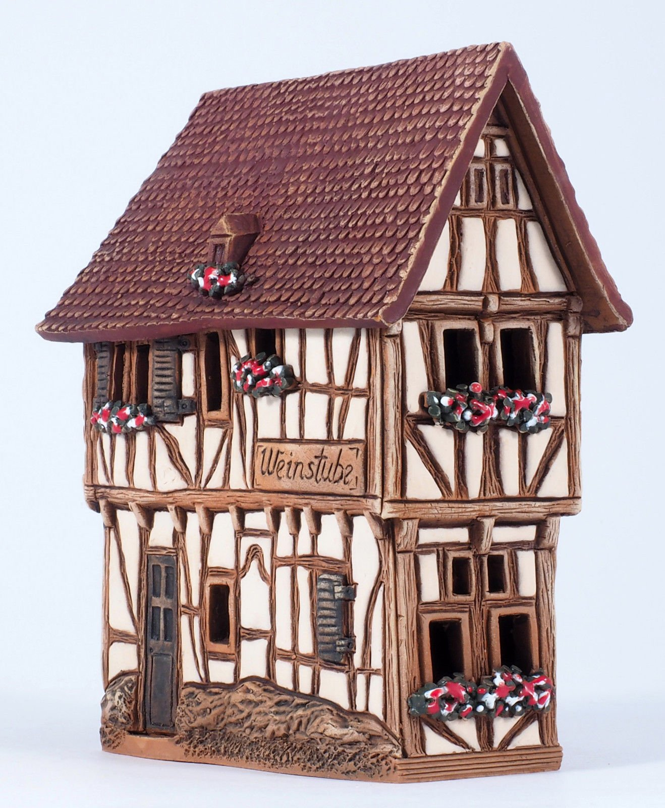 Unique Handmade Ceramic Cone Incense Burner and Incense Cone Holder for Any Room Decor. This Incense Holder is The 4.72 Inches Height Miniature Copy of The Existing Historic House in Bernkastel-Kues by Midene