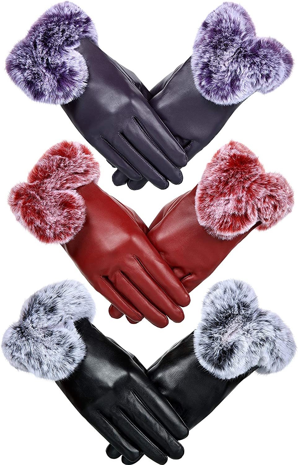 Women's Winter Gloves Winter PU Leather Gloves for Women Winter Supplies (Color Set 3, 3)