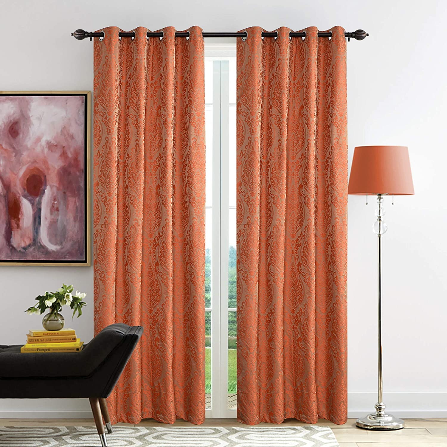 Buy Deco Window Polyester Blend Modern Design Eyelet Door Curtain for  Living Room (Orange, 7.5 Feet) - Set of 2 Online at Low Prices in India -  Amazon.in