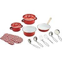 small foot 8964 Köksutrustning av metall, för barnkök, inkl. krukhandske och kökshjälpmedel, 13 delar, från 3 år