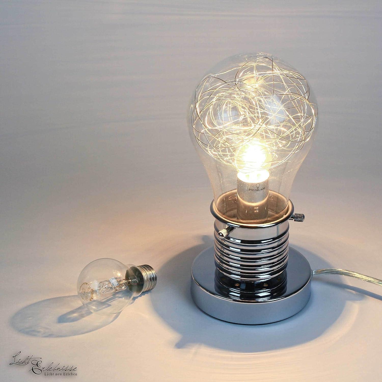Moderne Tischleuchte in Glühbirnenform E14 bis zu 42 Watt Tischlampe verchromt Nachttisch Licht Lampen