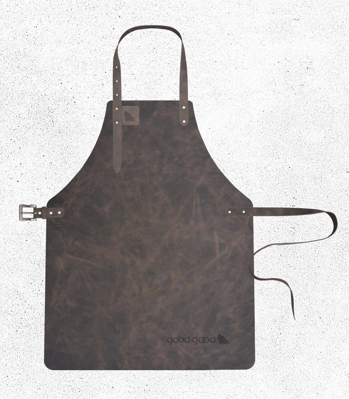Gaba Gaba - Grillschürze / Lederschürze / Kellnerschürze aus Leder (geeignet für Barista, Gastronomie & Grillen) - Hippo - Hippo (Schokoladenbraun) - S - 58 x 72cm