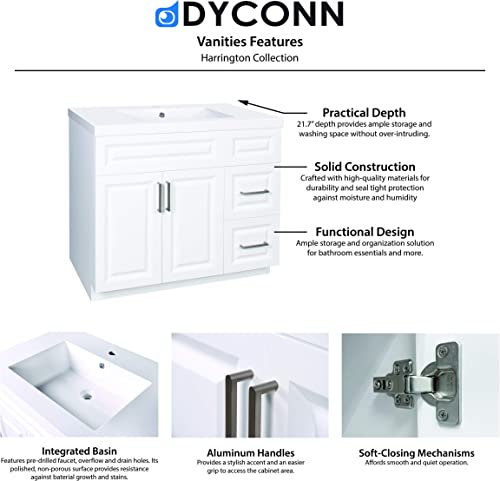 Dyconn Faucet VCSH36W Harrington Collection 36″ Freestanding Shaker Bathroom Vanity