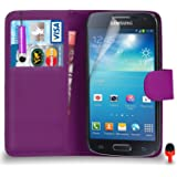 Samsung Galaxy S4 Mini Premium Leather Dark Purple Wallet Flip Case Cover Pouch + Mini Touch Stylus Pen + RED 2 IN 1 Dust Stopper + Screen Protector & Polishing Cloth SVL1 BY SHUKAN®, (WALLET DARK PURPLE)