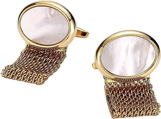 AnazoZ Gemelos Camisa Acero Gemelos para Oval con Cadenas Gemelos para Oro Blanco Gemelos de Hombre: Amazon.es: Joyería