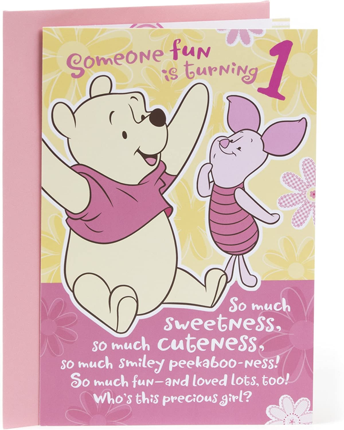 Hallmark 8st Birthday Greeting Card for Girls (Winnie the Pooh and Piglet)