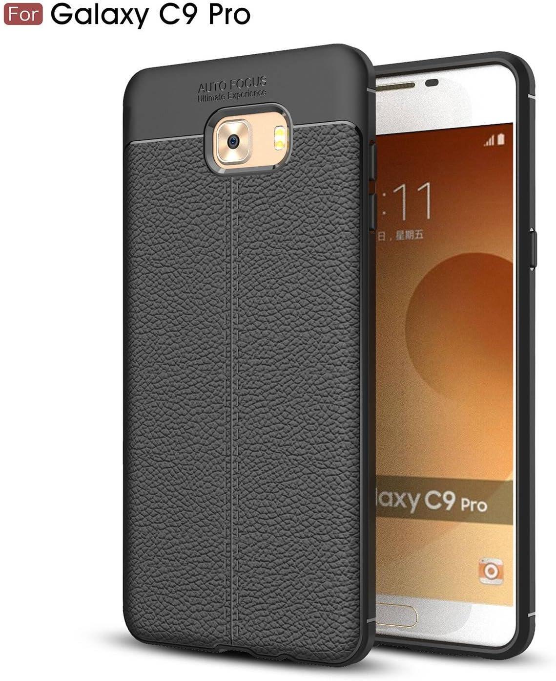 pinlu® Funda para Samsung Galaxy C9 Pro TPU Suave y Flexible Gel Silicone Case Textura de Cuero Litchi Funda Ultra Slim Anti-Rasguño Shock-Absorción Diseño Negro: Amazon.es: Electrónica