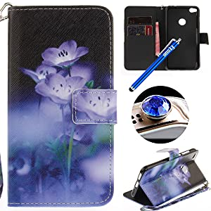 Etsue Huawei P8 Lite 2017 Wallet Case, Huawei P8 Lite 2017 Leather Case with Cute Design Flower Pattern Wallet Flip Case Cover with Stand Book Type Magnetic Closure for Huawei P8 Lite 2017+Blue Stylus Pen+Bling Glitter Diamond Dust Plug(Colors Random)-Lotos Flower