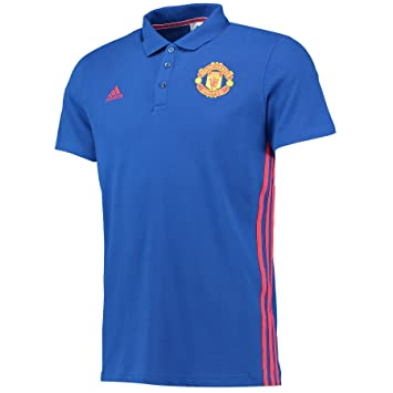 Adidas Manchester United 3S Polo - Camiseta para Hombre, Color Azul/Rojo, Talla