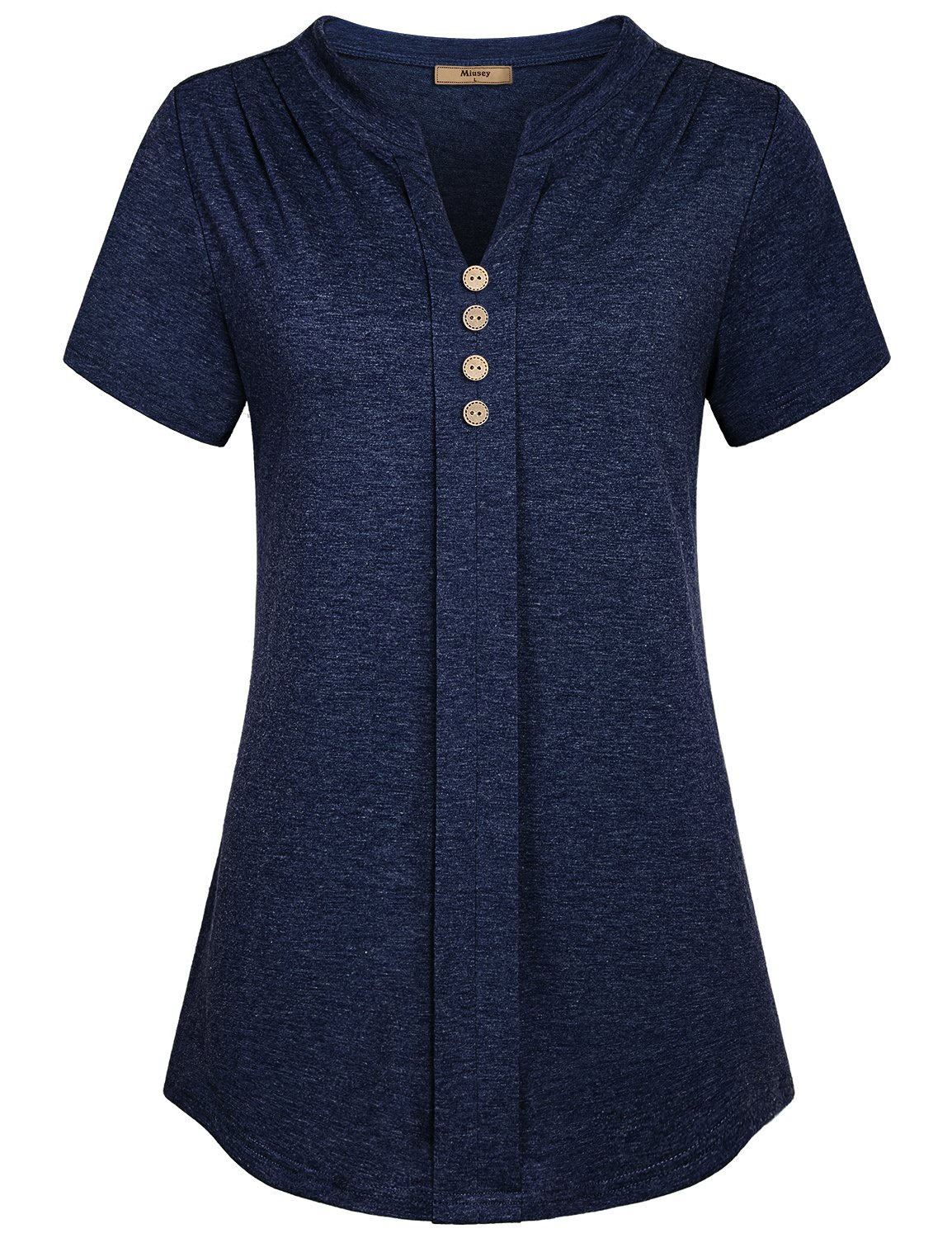 Miusey Short Sleeve Tunic Tops for Women, Casual Notch V Neck Shirring Details on Shoulder High Flexible Material Henley Style Fold Front Design Energetic Charming Sports T Shirts Royal Blue Medium