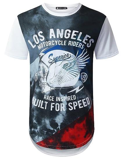 1bcf310e8c0 URBANTOPS Mens Hipster Hip Hop LA Skull Graphic Longline T-Shirt White, XL