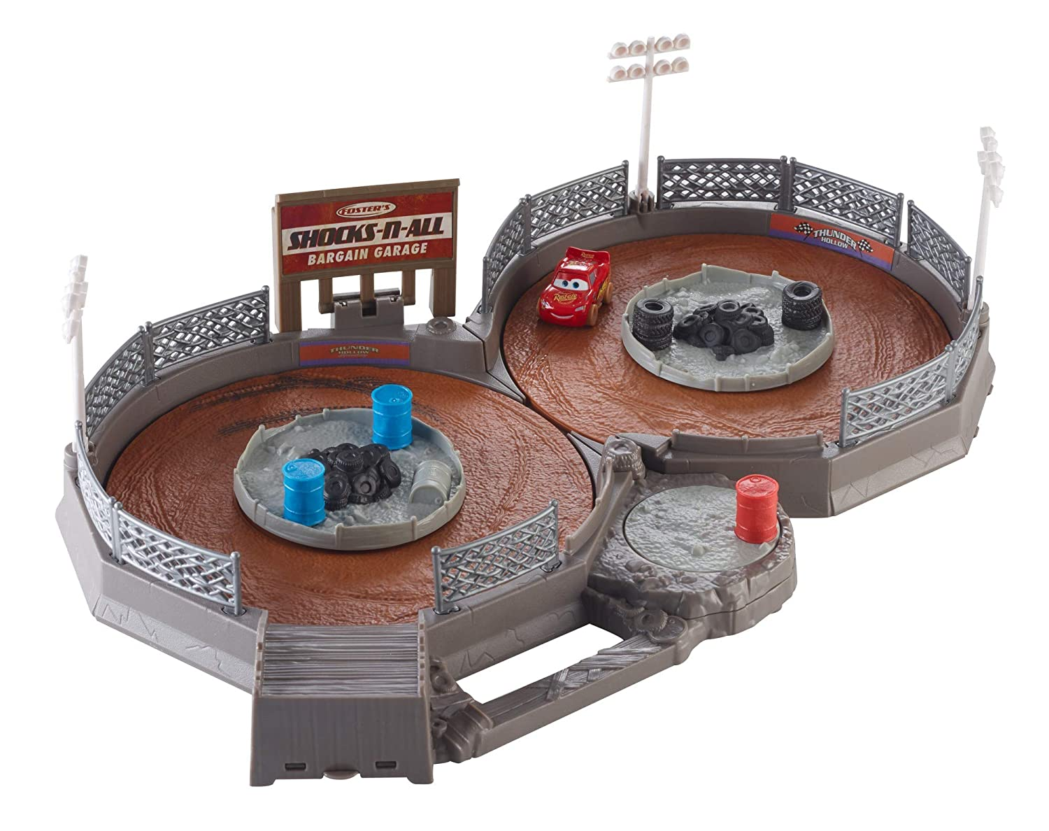Disney Pixar Cars Mini Racers Crank and Crash Derby Playset with Mini Lightning McQueen Toy Car Mattel FLG71