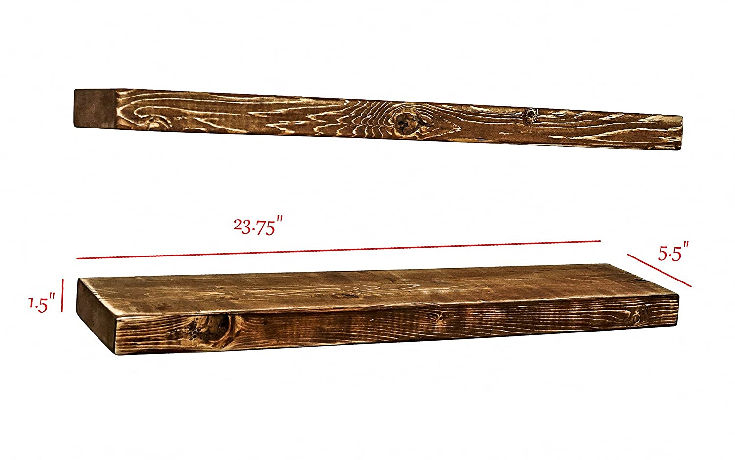 "(2pc) FARMHOUSE STYLE RUSTIC 100% NATURAL SOLID PINE WOOD FLOATING SHELVES BRACKETS MOUNTING HARDWARE CLEAR COAT (24""X5.5""X1.5"") wall hanging decor picture shelf (American Walnut) Thaostudios.com"