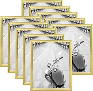 Giverny 8x10 Picture Frames Set of 10, Gold Frames with Beaded Edge, Easy Hanging or Standing, for Home or Office, and Party