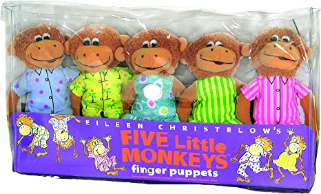 Amazon Com Merrymakers Five Little Monkeys Finger Puppet Playset Set Of 5 5 Inches Each Christelow Eileen Toys Games