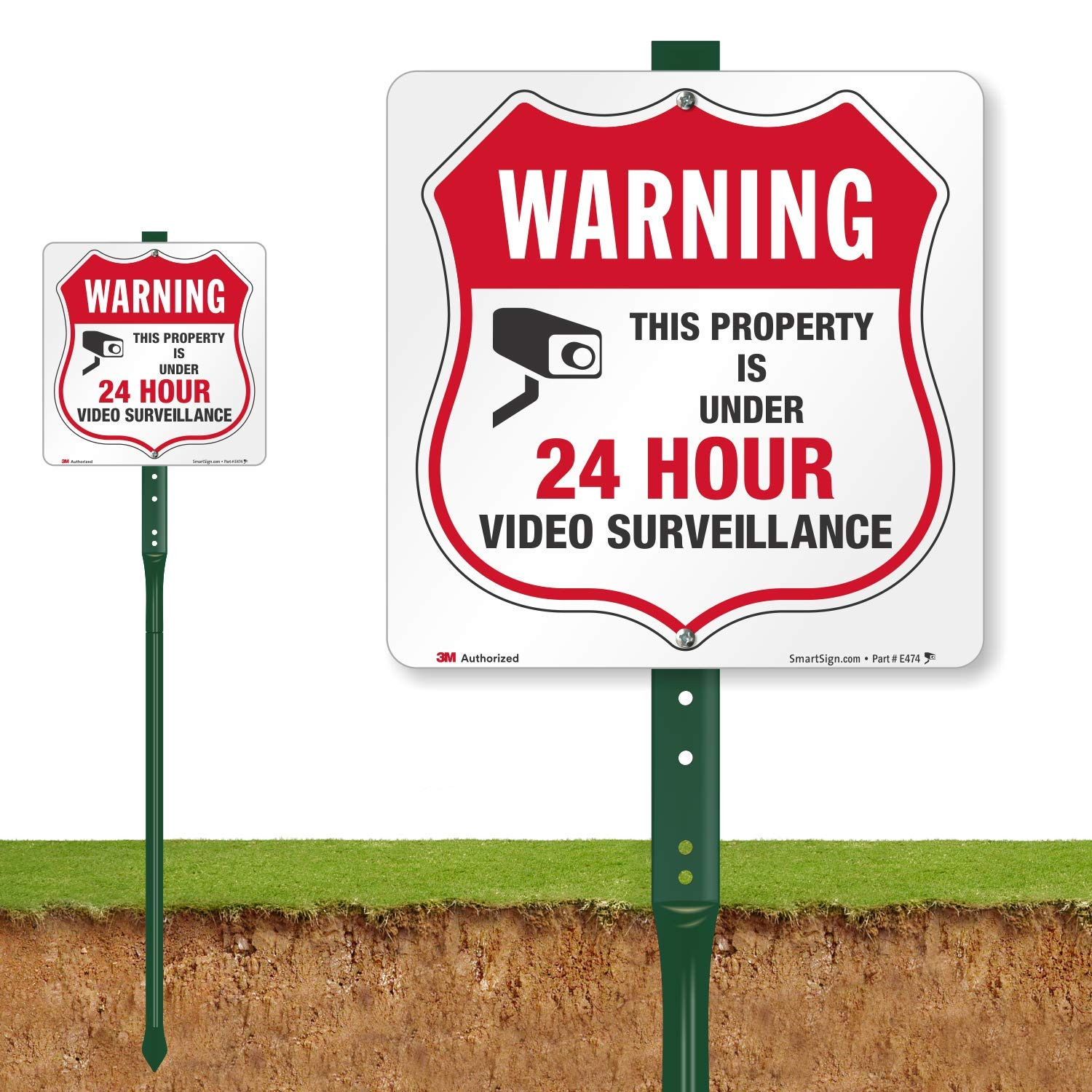 SmartSign ''Warning - This Property is Under 24 Hour Video Surveillance'' Sign for Lawn | 10'' Square 3M Engineer Grade Reflective Aluminum Sign with 3' Stake [New] by SmartSign