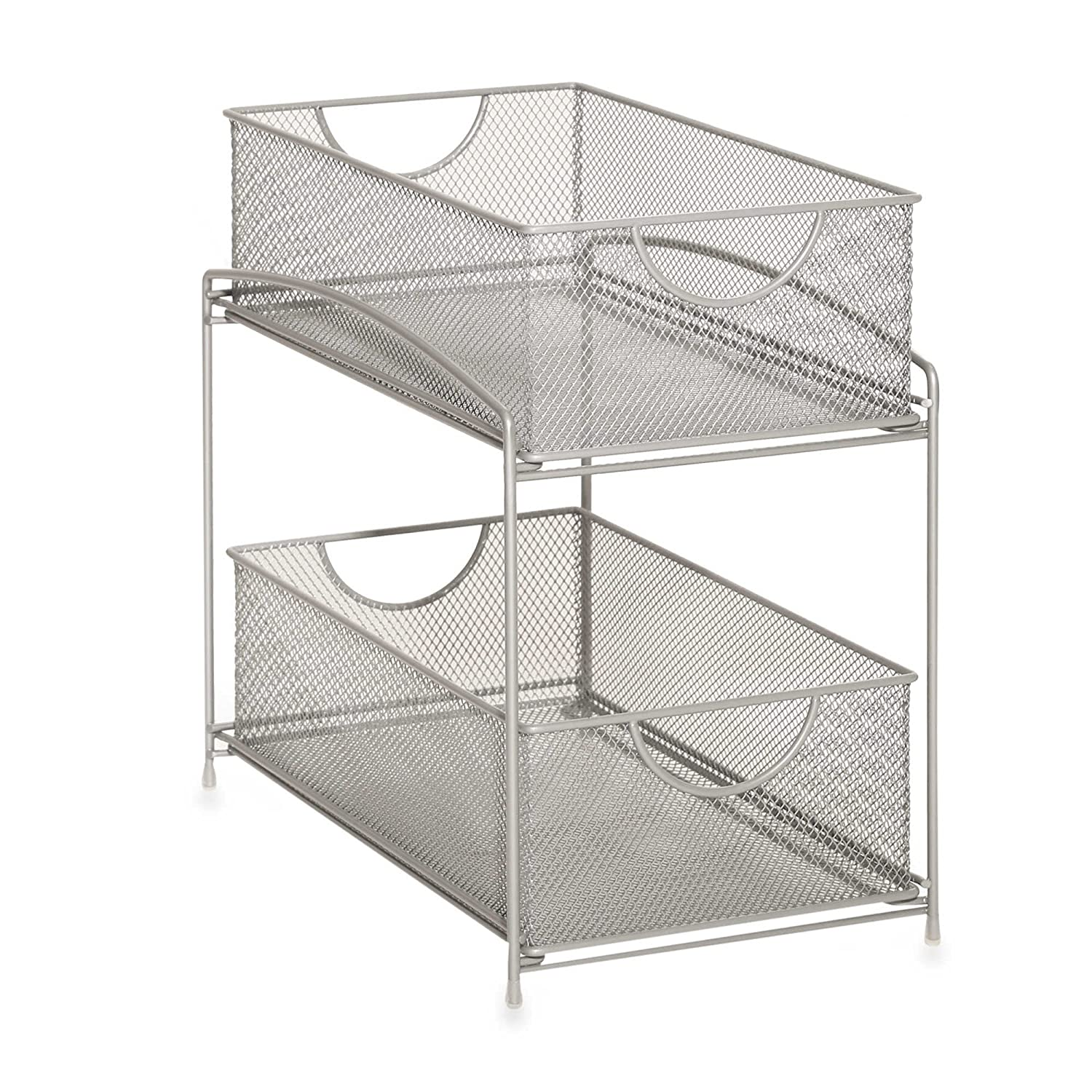 Uncategorized Sliding Basket Organizer amazon com org 2 tier mesh double sliding cabinet basket in silver kitchen dining