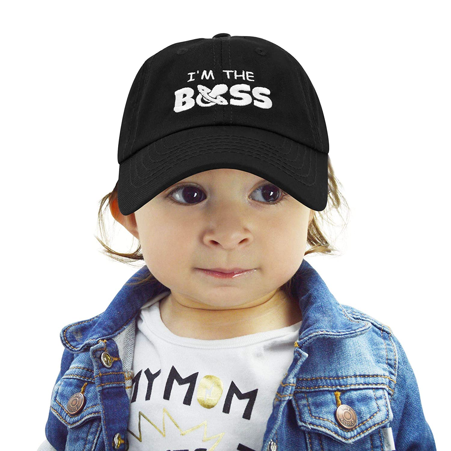 4b679f22 Amazon.com: DALIX I'm The Boss Baby Hat Infant Baseball Cap for Baby Girls  and Boys in Black: Clothing
