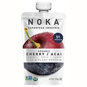 NOKA Superfood Smoothie Pouches (Cherry Acai) 12 Pack | 100% Organic Healthy Fruit And Veggie Squeeze Snack Packs | Meal Replacement | Non GMO, Gluten Free, Vegan, 5g Plant Protein | 4.2oz Each