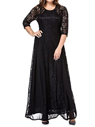 GMHO Women\'s Plus Size 3/4 Sleeve Lace Maxi Bridesmaid Dress Gown at ...