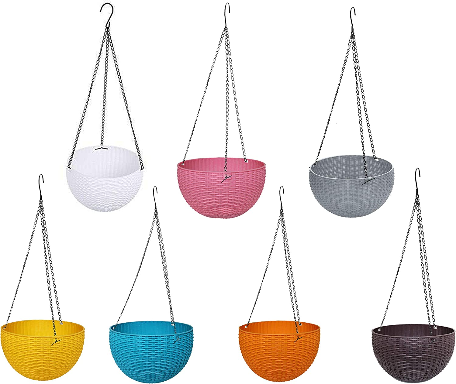 Pack of 7 Plastic Hanging Rattan Planter, Self-Watering Round Hanging Basket, Plant Herb Orchid Flower Pot,Blooms Container for Home Office Garden Balcony Wall Pergola Fences Indoor Outdoor Decoratio