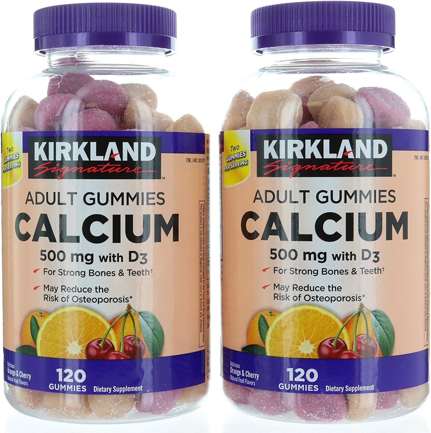 Amazon Com Kirkland Signature Chewable Calcium With Vitamin D3 Adult Gummies 120 Ct X 2 Bottles Health Personal Care