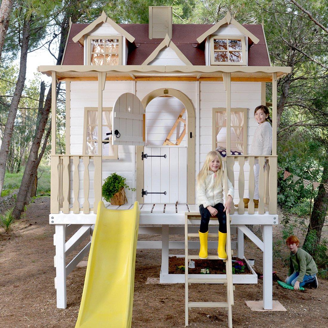 Green House - Casita de Madera para niños Sobre pilares con tobogán Super Baden: Amazon.es: Juguetes y juegos