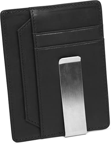 Minimalist Money Clip Wallet Genuine Leather Ultra Slim Mens Credit Card Coin ID