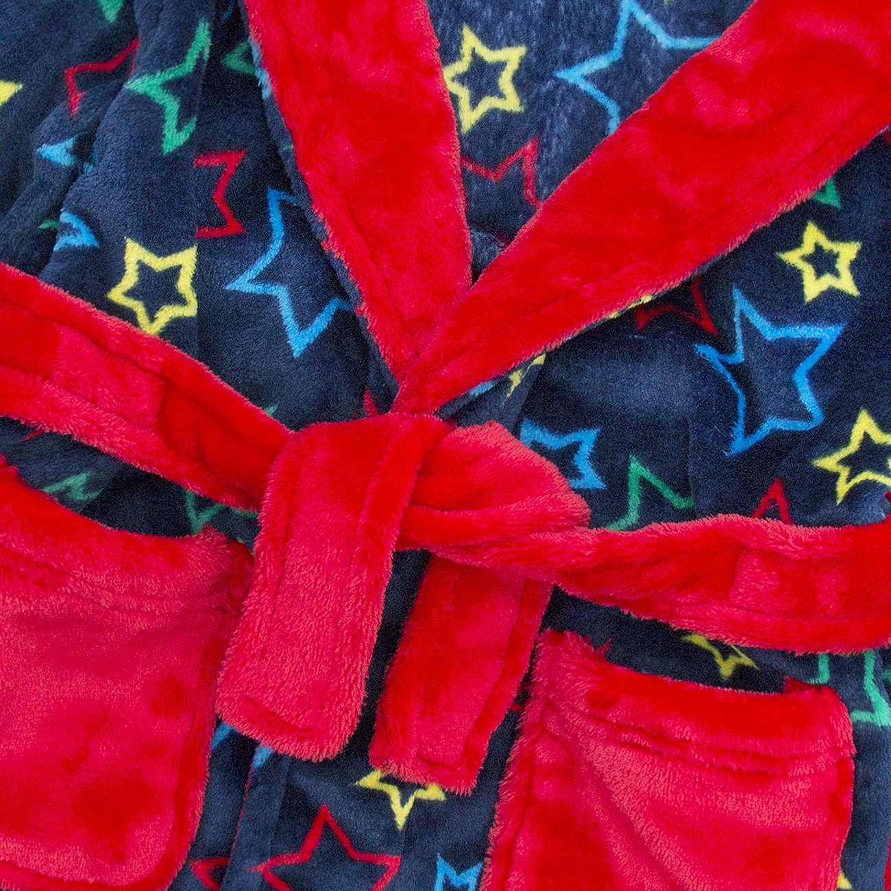 Minikidz Infant Girls Boys Unisex Star Print Flannel Fleece Hooded Dressing Gown Robe