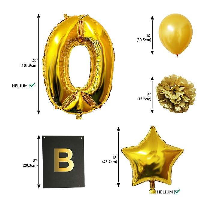 BELLE VOUS Globos Cumpleaños Happy Birthday, Suministros y Decoración Globo Grande de Aluminio - Decoración Globos De Látex Dorado, Blanco y Negro - Apto ...