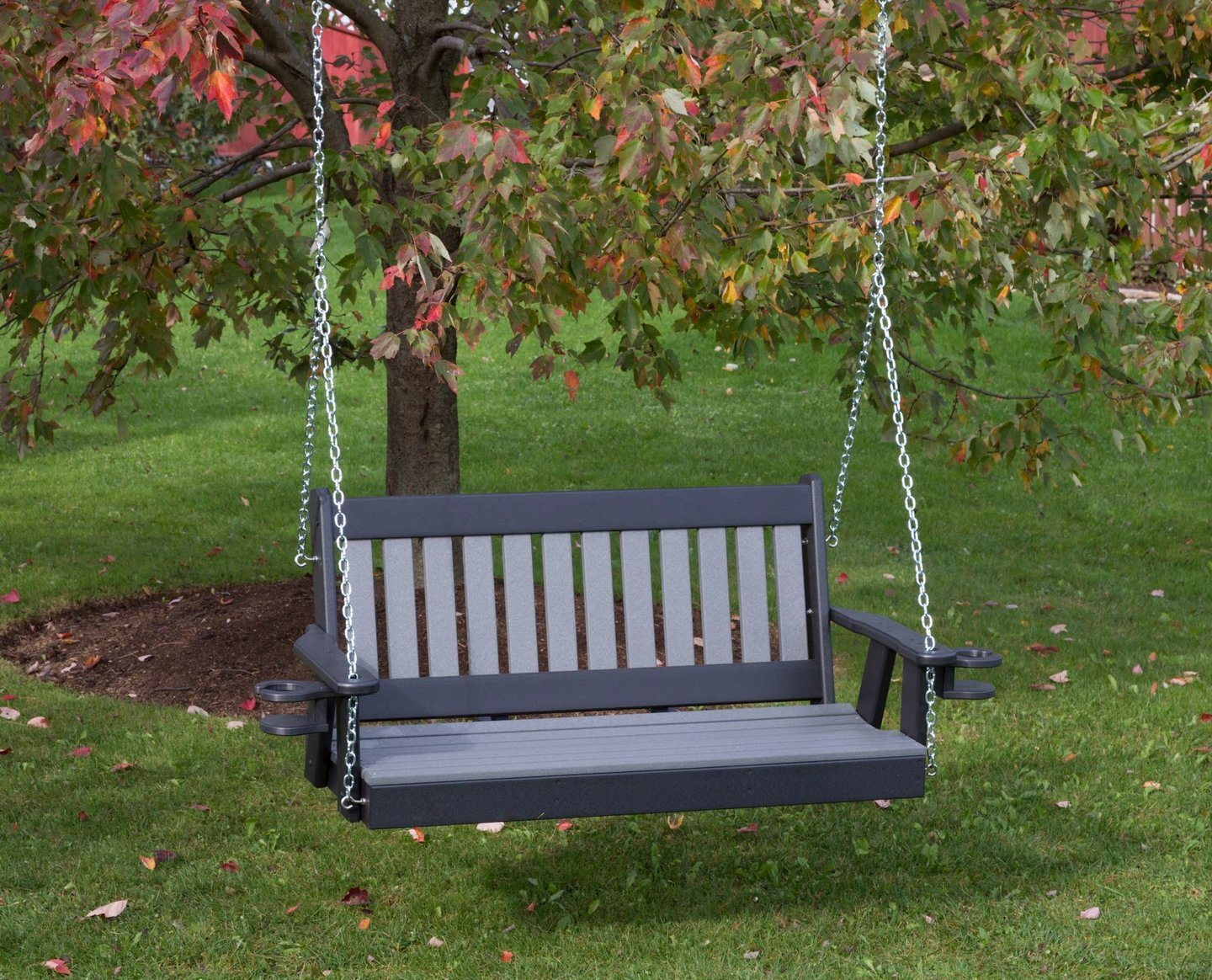 4FT-DARK GRAY-POLY LUMBER Mission Porch Swing with Cupholder arms Heavy Duty EVERLASTING PolyTuf HDPE - MADE IN USA - AMISH CRAFTED