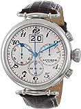 Akribos XXIV Men's AK628SS Retro Chronograph Stainless Steel White Dial Brown Leather Strap Watch