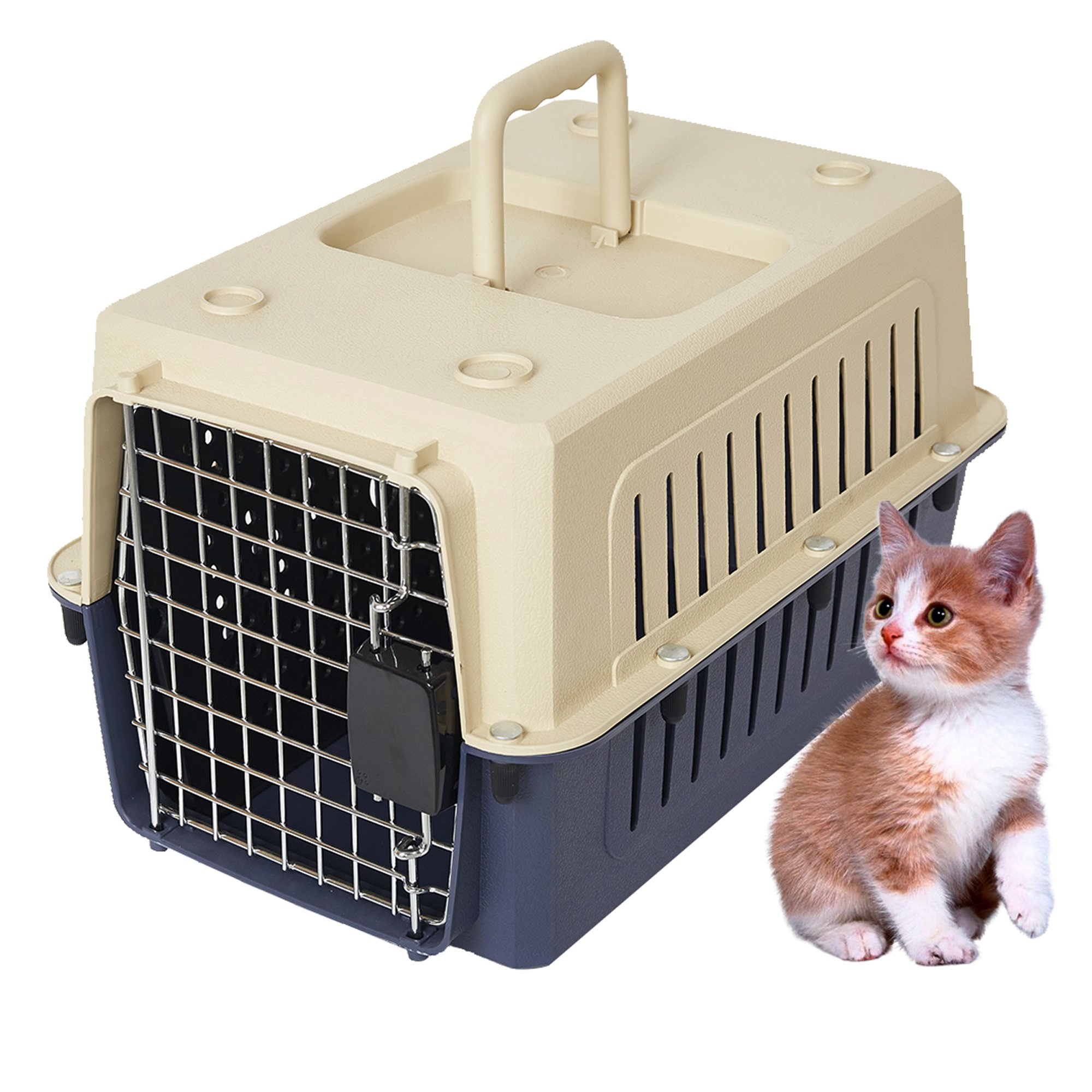 Lucky Tree 4 Size Pet Carrier Cat Carriers Kennel Crate Airline Approved Kitty Travel Cage Plastic Lightweight and Safe to Carry for Puppy Bunny Cats, 2 Color by Lucky Tree
