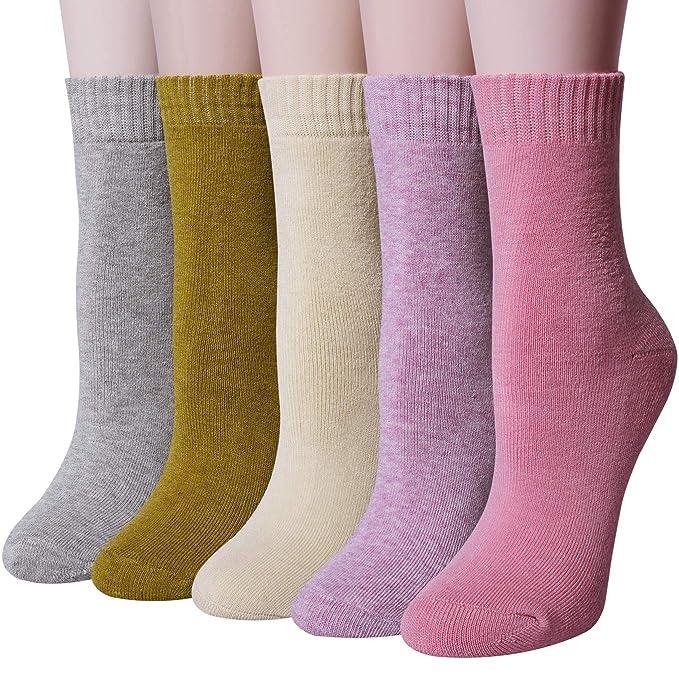 6734b374b754 Calze da Donna in Cotone con 5 paia di Calzini Invernali Spesse Calze  Comode e Morbide: Amazon.it: Abbigliamento
