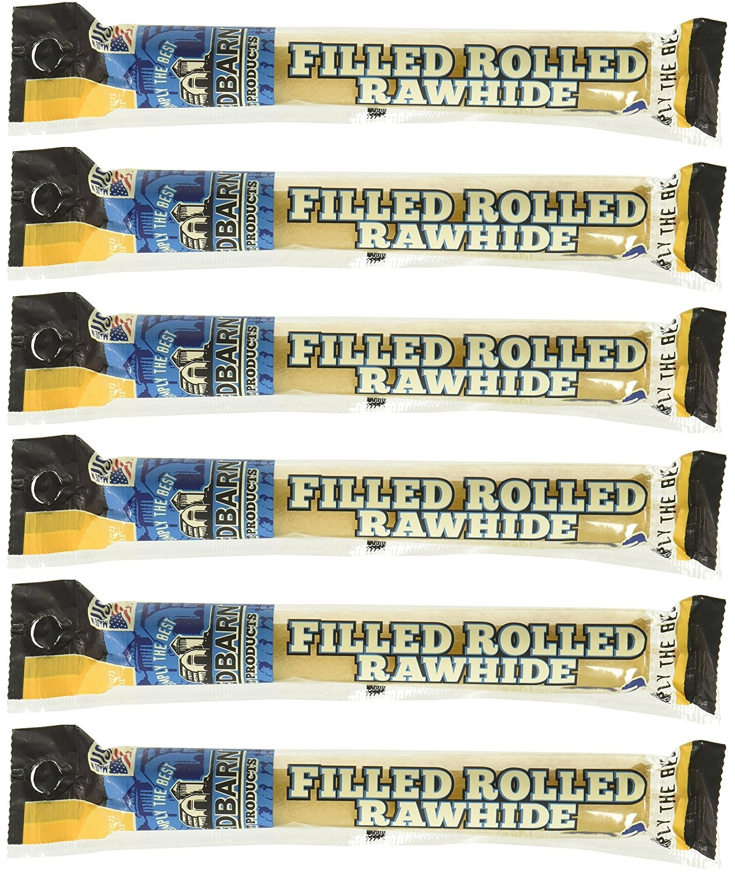 (6 Pack) Redbarn Filled Rolled Rawhide Chicken, 6 Inches each