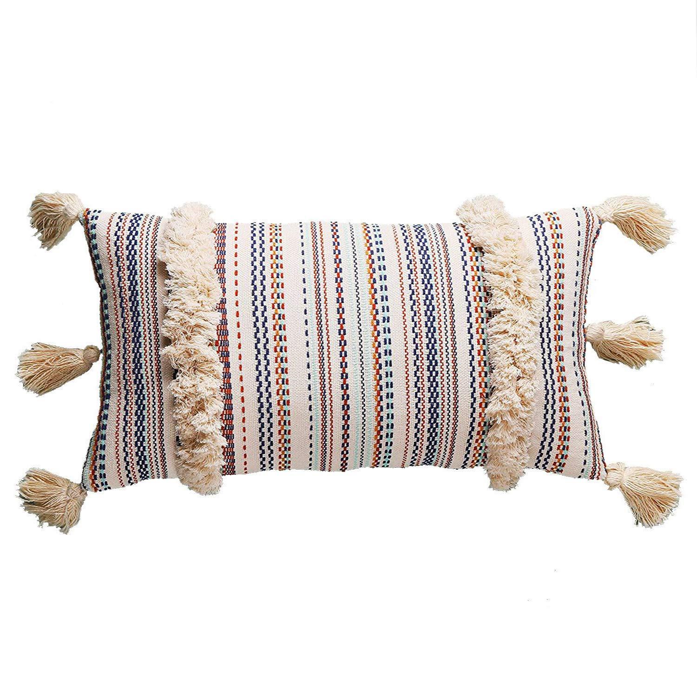 """FLBER Lumbar Throw Pillow Decorative Pillows Tassel Textured Woven Sham,12""""X20"""""""