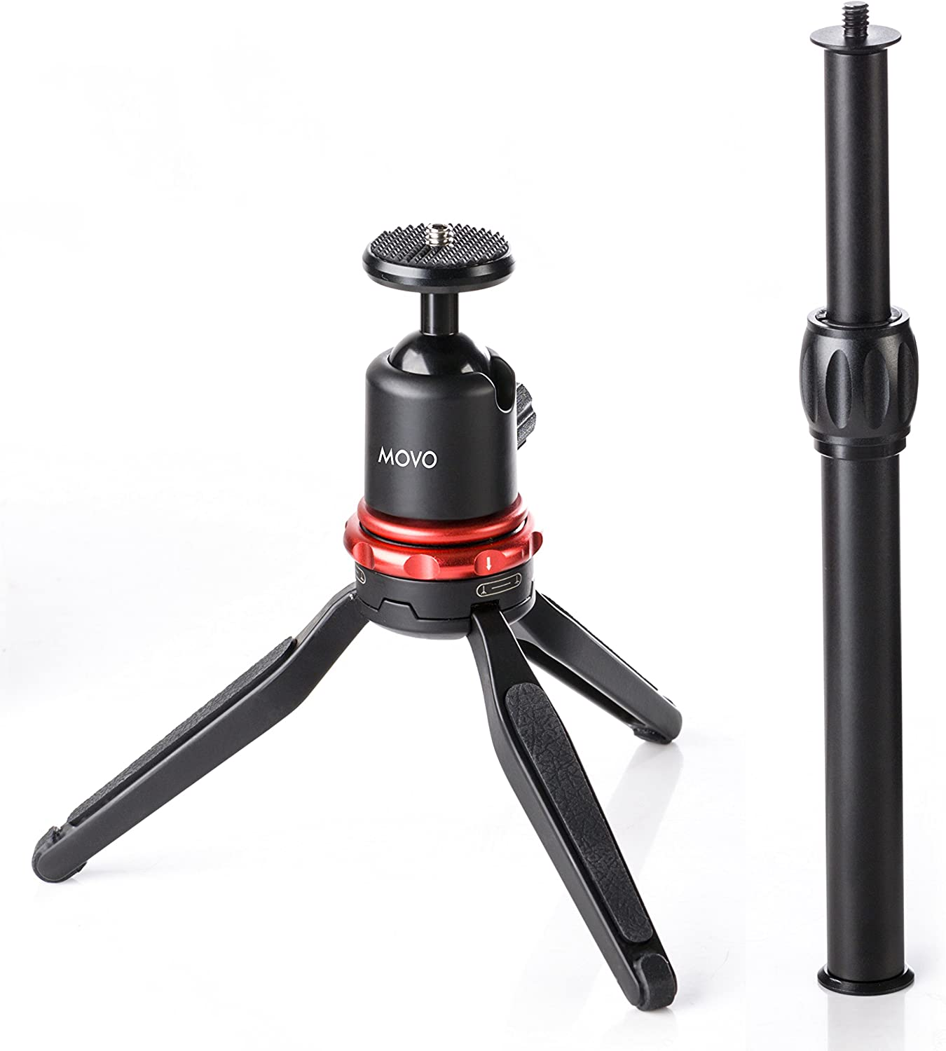 Movo Universal Mini Camera Tripod with Extendable Pole (MV-T1) Adjustable Head, Heavy-Duty Aluminum Travel Stand for DSLR, Mirrorless, GoPro, Smartphones, Compact, Portable