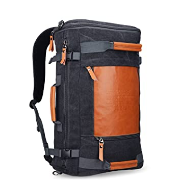 3666776a368a WITZMAN Men Canvas Rucksack Travel Backpack Duffel Luggage Bag 2033 (19  inch, Black)